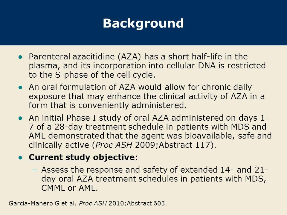 Garcia-Manero G et al. Proc ASH 2010;Abstract 603.