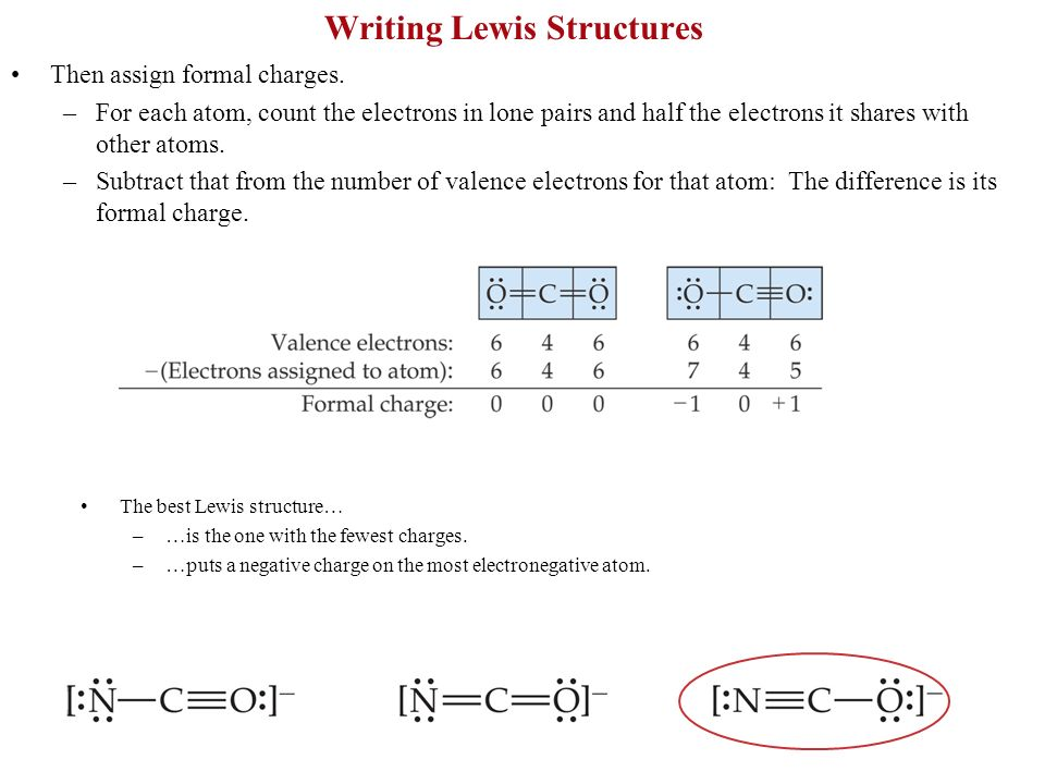Writing Lewis Structures Then assign formal charges. –For each atom, count the electrons in lone pairs and half the electrons it shares with other ato