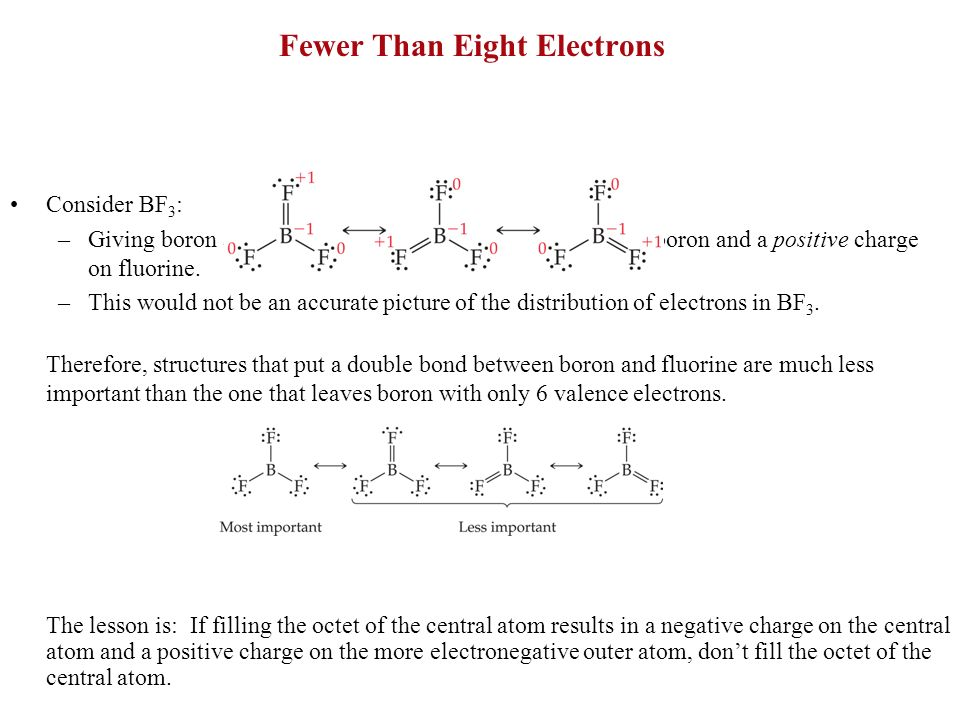 Fewer Than Eight Electrons Consider BF 3 : –Giving boron a filled octet places a negative charge on the boron and a positive charge on fluorine. –This