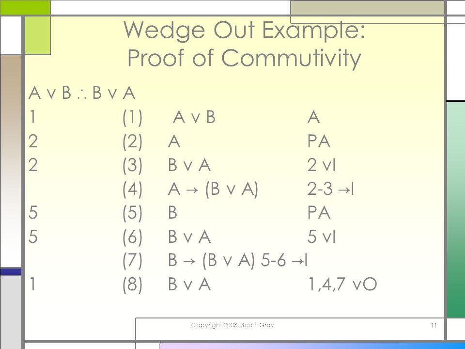 Copyright 2008, Scott Gray 11 Wedge Out Example: Proof of Commutivity A v B B v A 1(1) A v B A 2(2)APA 2(3)B v A2 vI (4)A (B v A)2-3 I 5(5)BPA 5(6)B v