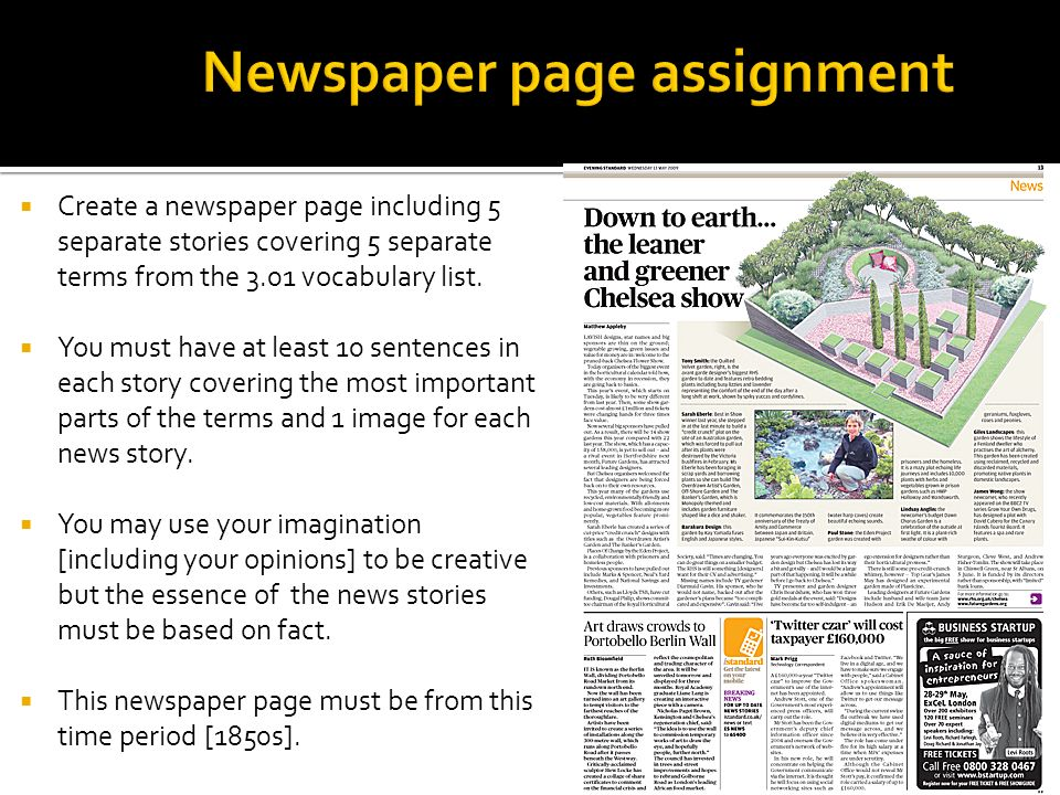 Create a newspaper page including 5 separate stories covering 5 separate terms from the 3.01 vocabulary list. You must have at least 10 sentences in e