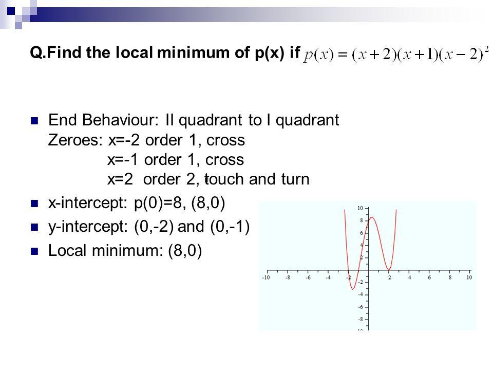 Q.Find the local minimum of p(x) if End Behaviour: II quadrant to I quadrant Zeroes: x=-2 order 1, cross x=-1 order 1, cross x=2 order 2, touch and tu