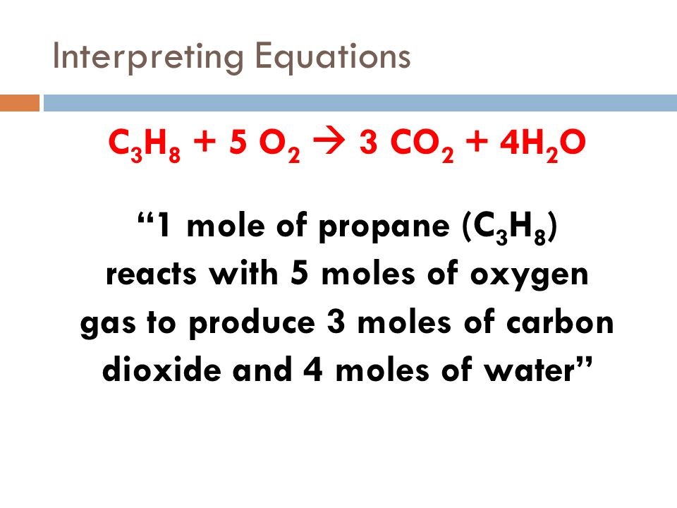 Interpreting Equations 4 Fe + 3 O 2 2 Fe 2 O 3 4 moles of iron react with 3 moles of oxygen gas to produce 2 moles of iron(III) oxide Coefficients in