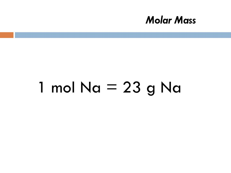 Molar Mass 1 mol Na =