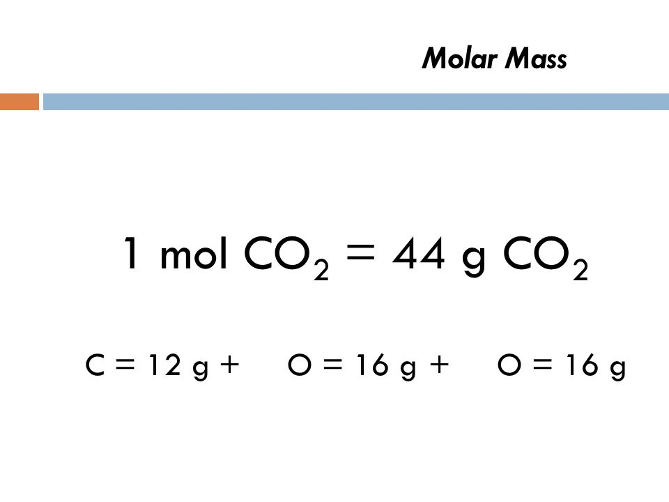 Molar Mass 1 mol CO 2 = C = 12 g+ O = 16 g + O = 16 g