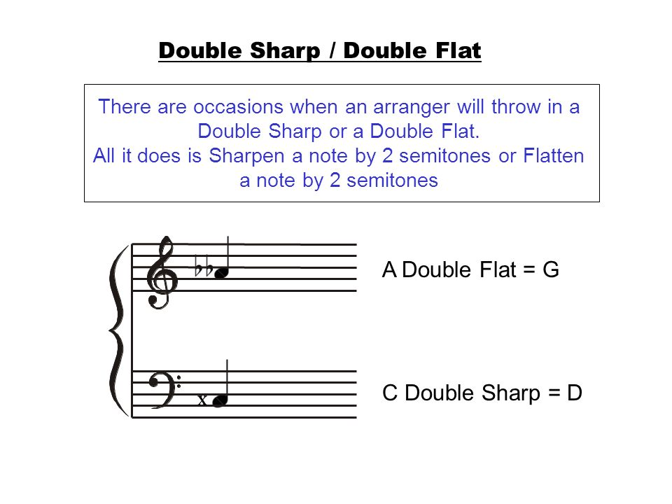 Double Sharp / Double Flat There are occasions when an arranger will throw in a Double Sharp or a Double Flat. All it does is Sharpen a note by 2 semi