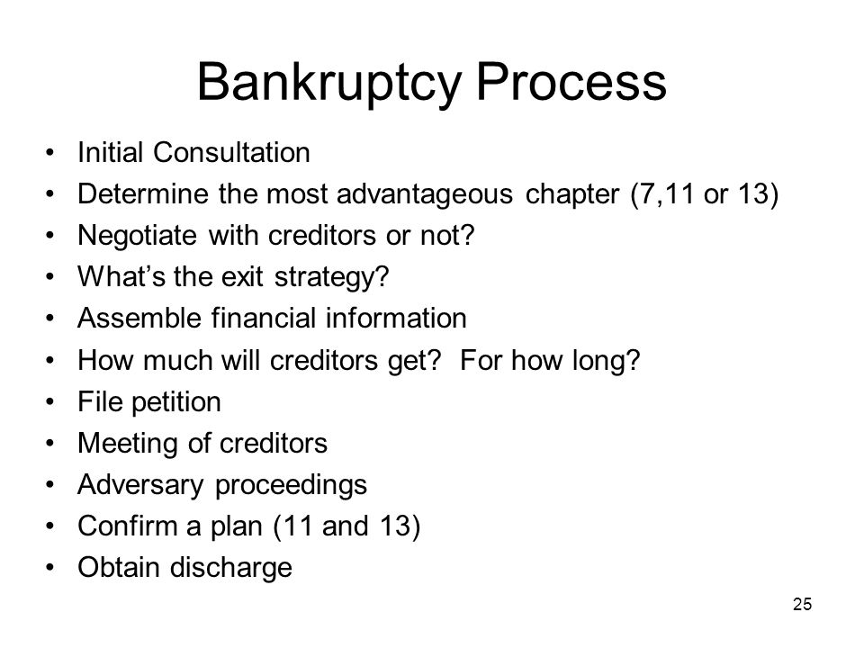 Bankruptcy Process Initial Consultation Determine the most advantageous chapter (7,11 or 13) Negotiate with creditors or not? Whats the exit strategy?