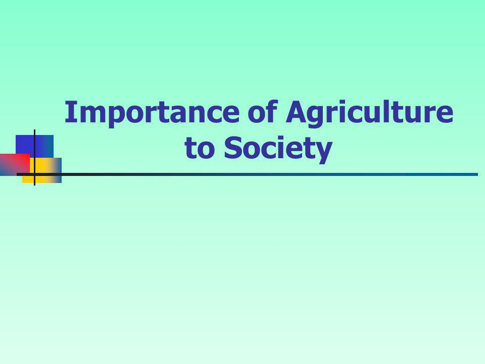 Importance of Agriculture to Society