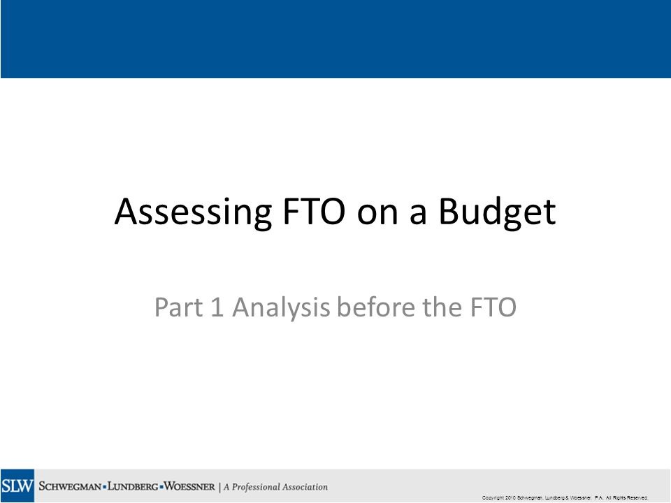 Copyright 2010 Schwegman, Lundberg & Woessner. P.A. All Rights Reserved. Assessing FTO on a Budget Part 1 Analysis before the FTO