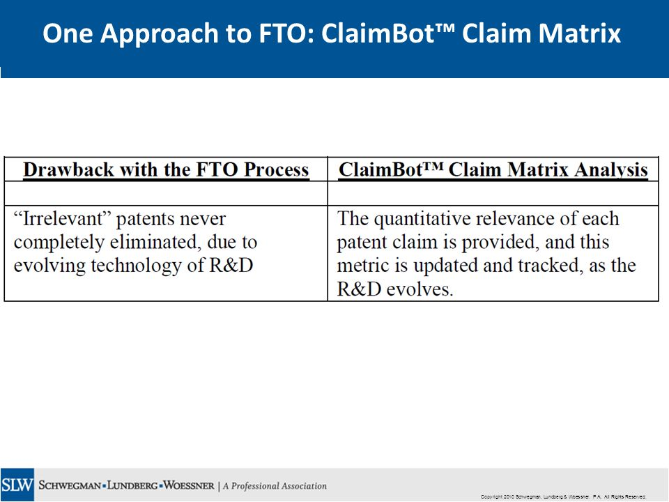 Copyright 2010 Schwegman, Lundberg & Woessner. P.A. All Rights Reserved. One Approach to FTO: ClaimBot Claim Matrix