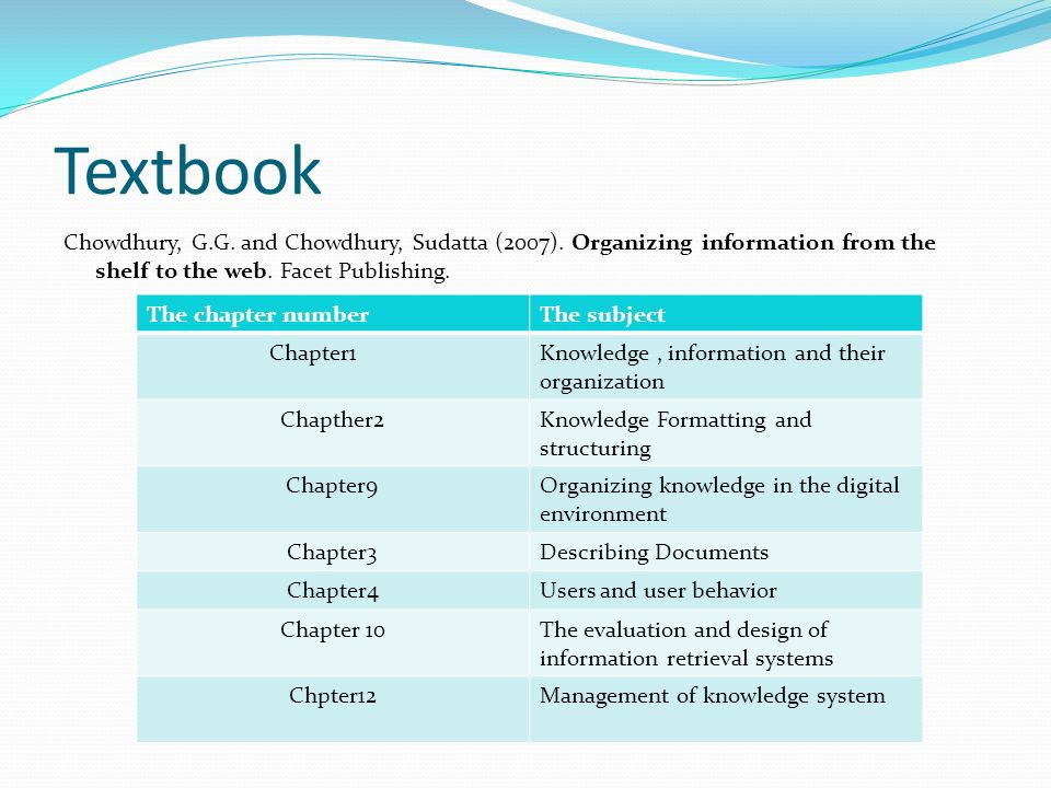 Textbook Chowdhury, G.G.and Chowdhury, Sudatta (2007).