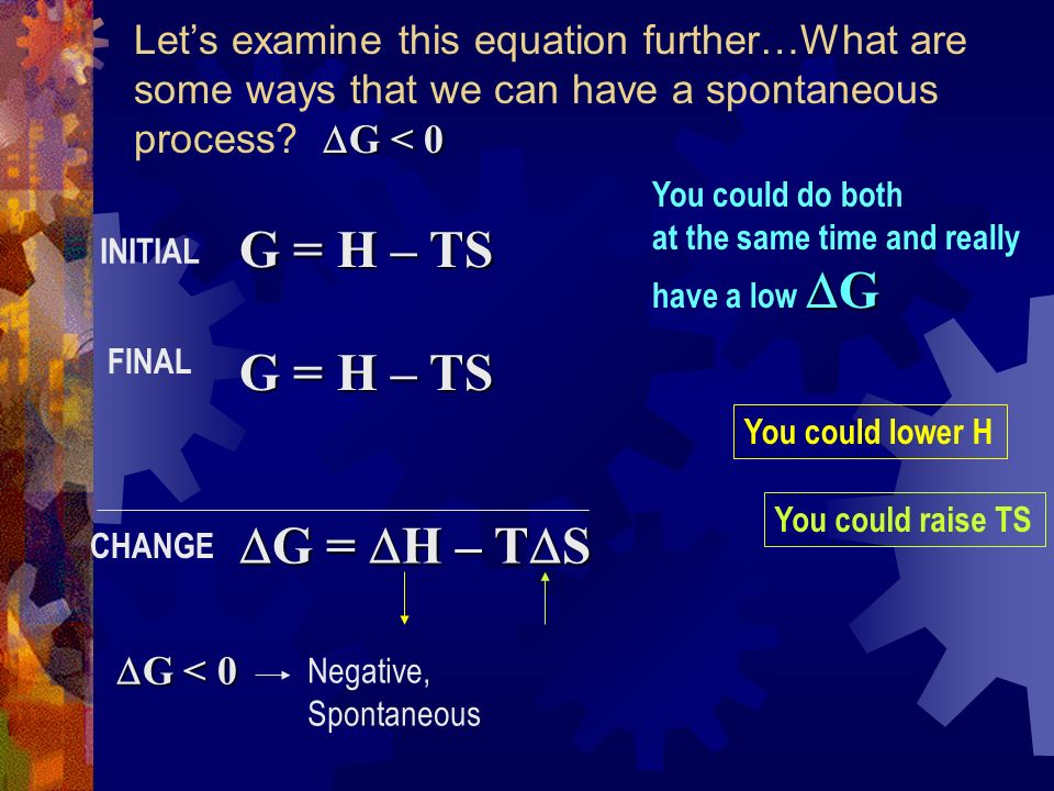 G < 0 Lets examine this equation further…What are some ways that we can have a spontaneous process.