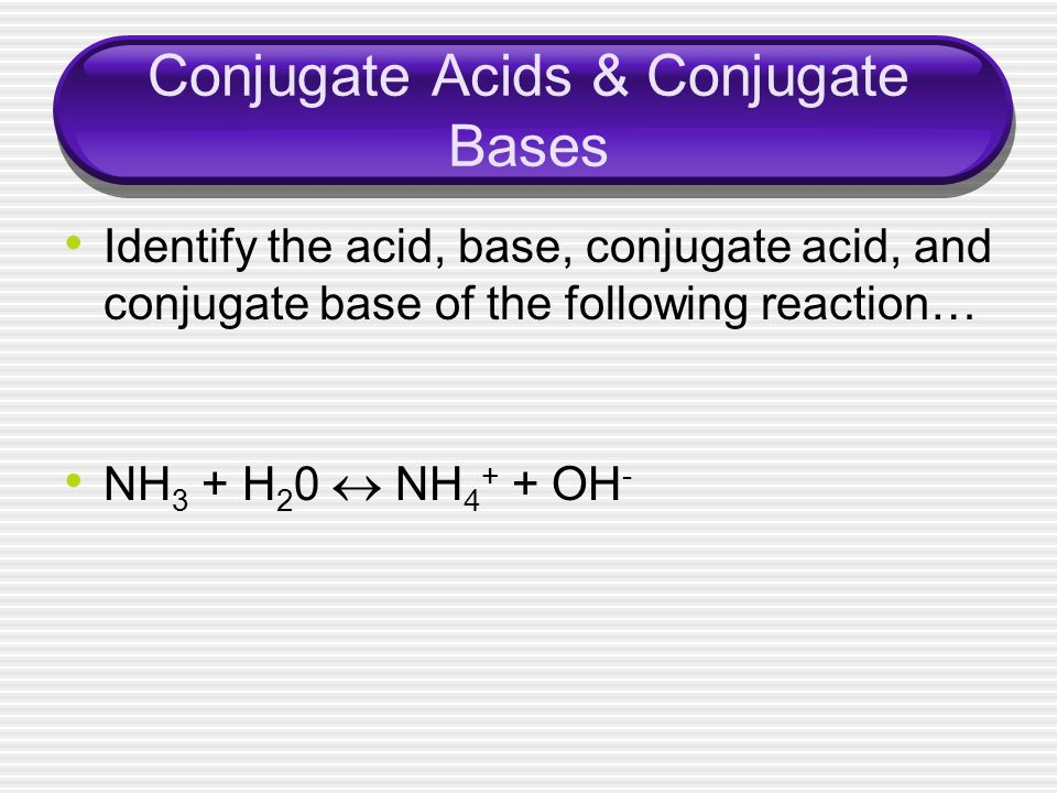 Conjugate Acids & Conjugate Bases Identify the acid, base, conjugate acid, and conjugate base of the following reaction… NH 3 + H 2 0 NH 4 + + OH -