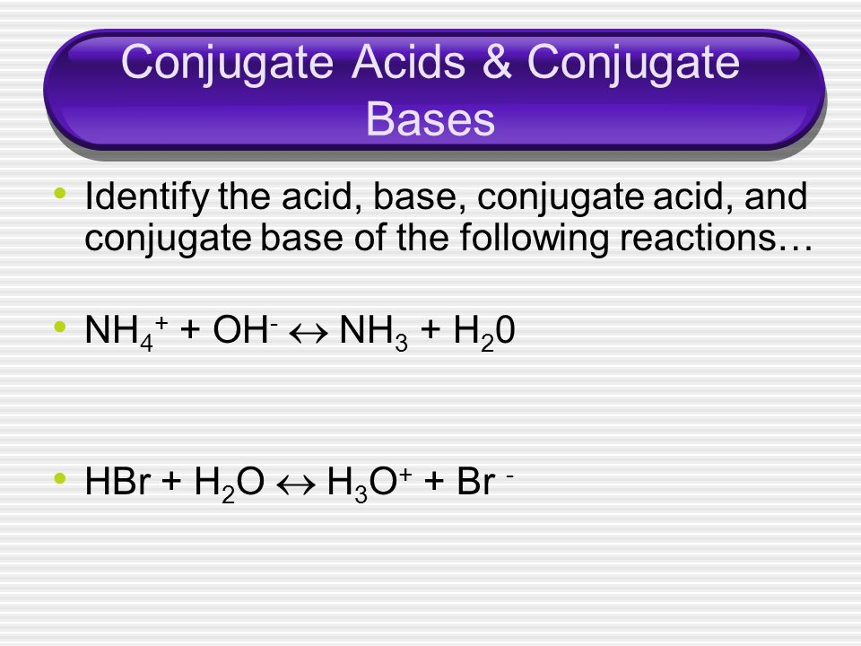 Conjugate Acids & Conjugate Bases Identify the acid, base, conjugate acid, and conjugate base of the following reactions… NH 4 + + OH - NH 3 + H 2 0 H