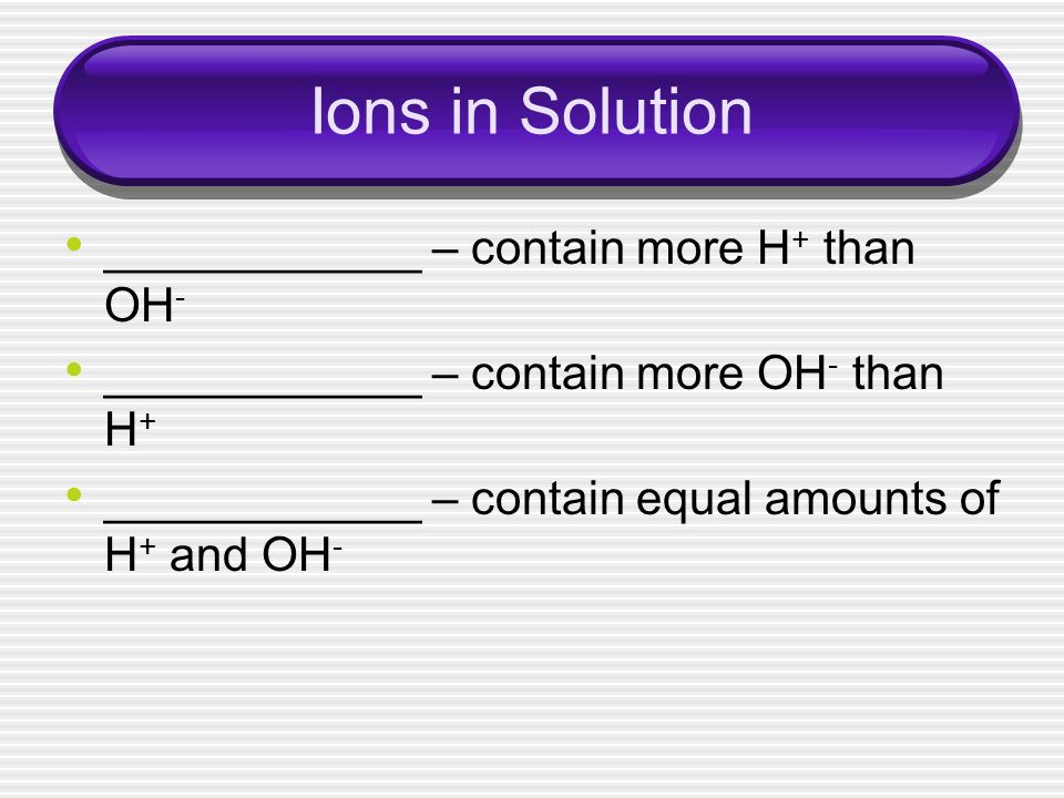 Ions in Solution ____________ – contain more H + than OH - ____________ – contain more OH - than H + ____________ – contain equal amounts of H + and O