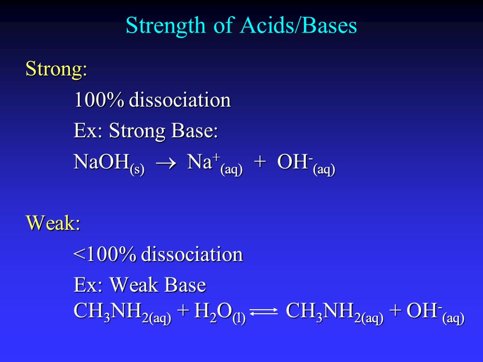 Strength of Acids/Bases Strong: 100% dissociation Ex: Strong Base: NaOH (s) Na + (aq) + OH - (aq) Weak: <100% dissociation Ex: Weak Base CH 3 NH 2(aq)