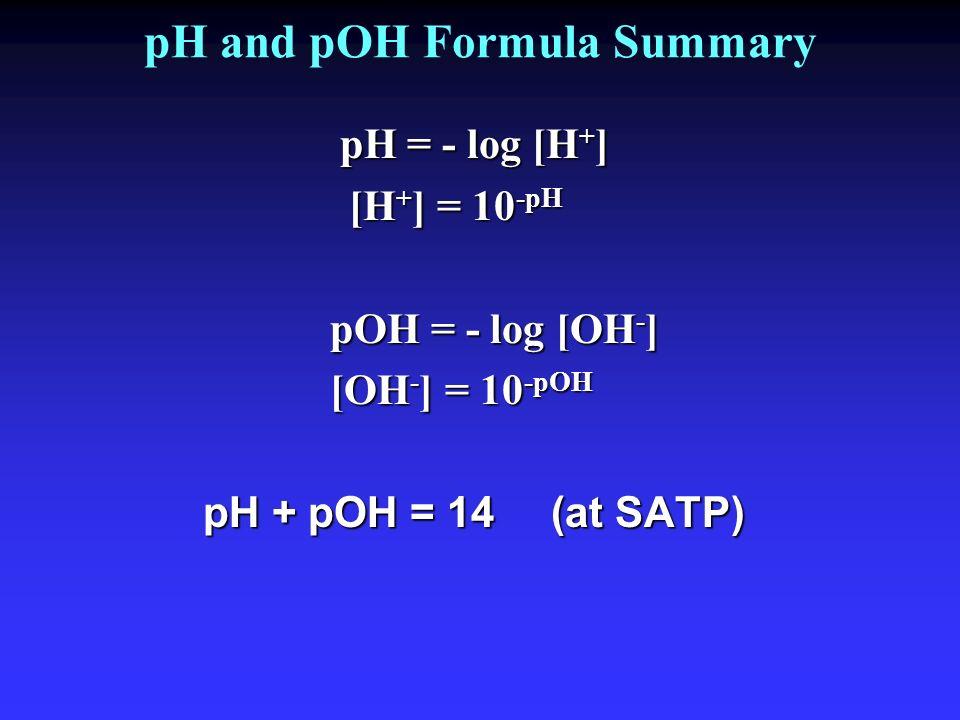 pH and pOH Formula Summary pH = - log [H + ] [H + ] = 10 -pH pOH = - log [OH - ] [OH - ] = 10 -pOH pH + pOH = 14 (at SATP)