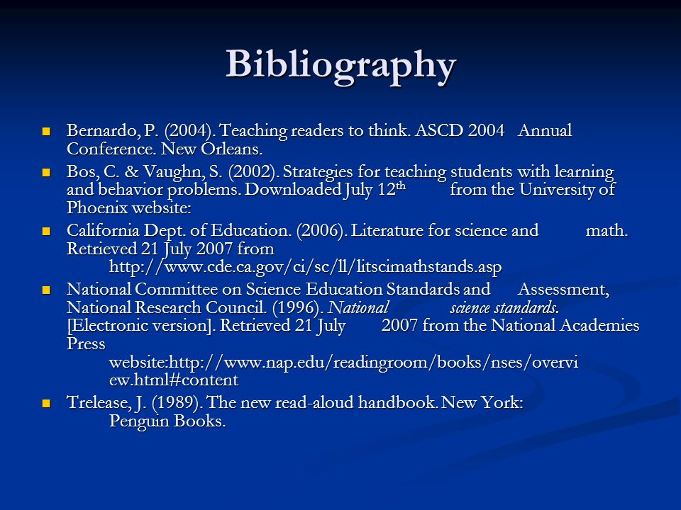 Bibliography Bernardo, P. (2004). Teaching readers to think.