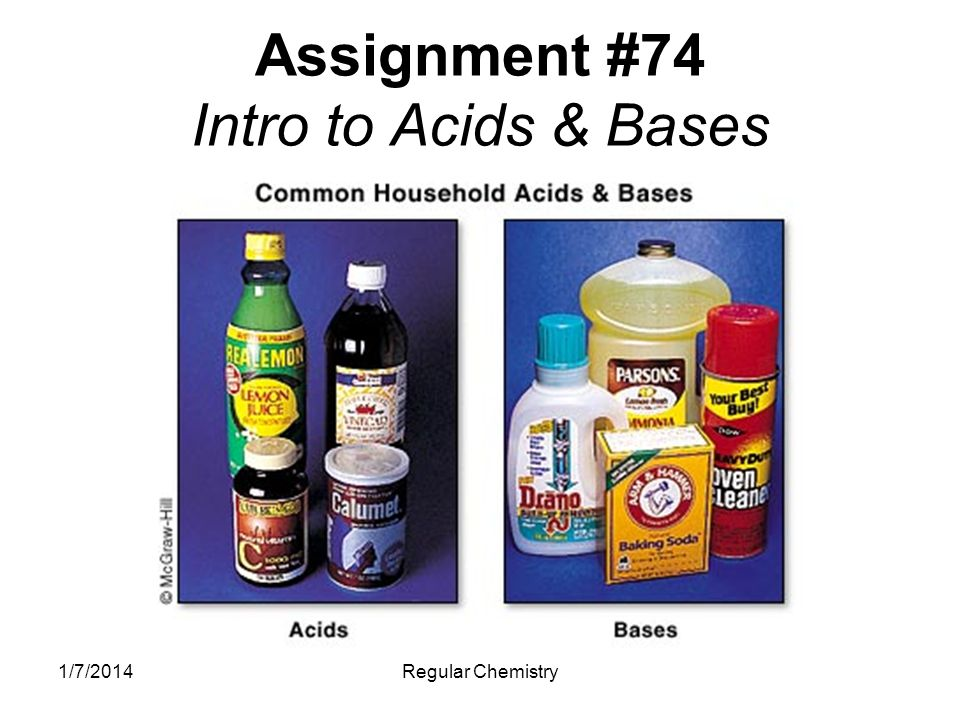 1/7/2014Regular Chemistry Properties Acids Taste Sour Aqueous Electrolytic Ions in Solution H + Ions Corrosive Feel Watery Low pH Bases Taste Bitter Aqueous Electrolytic Ions in Solution OH - Ions Corrosive Feel Slippery High pH