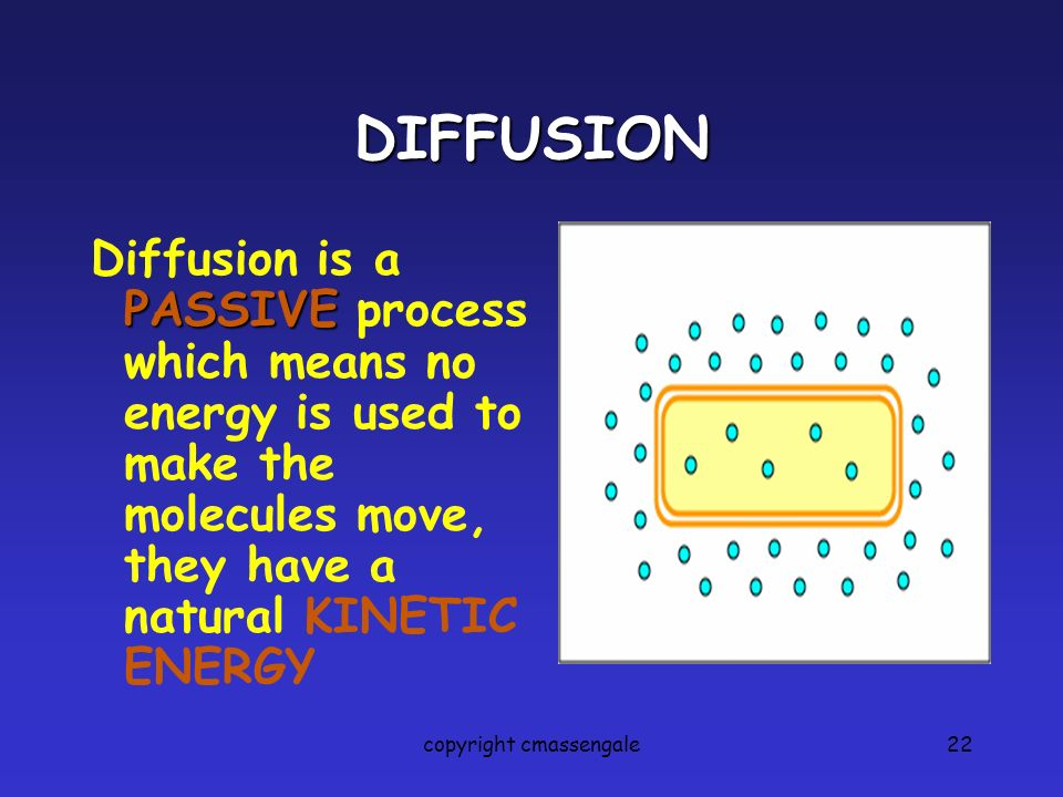 22 DIFFUSION PASSIVE Diffusion is a PASSIVE process which means no energy is used to make the molecules move, they have a natural KINETIC ENERGY copyr