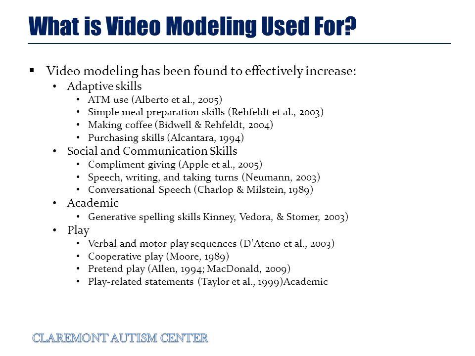 What is Video Modeling Used For.