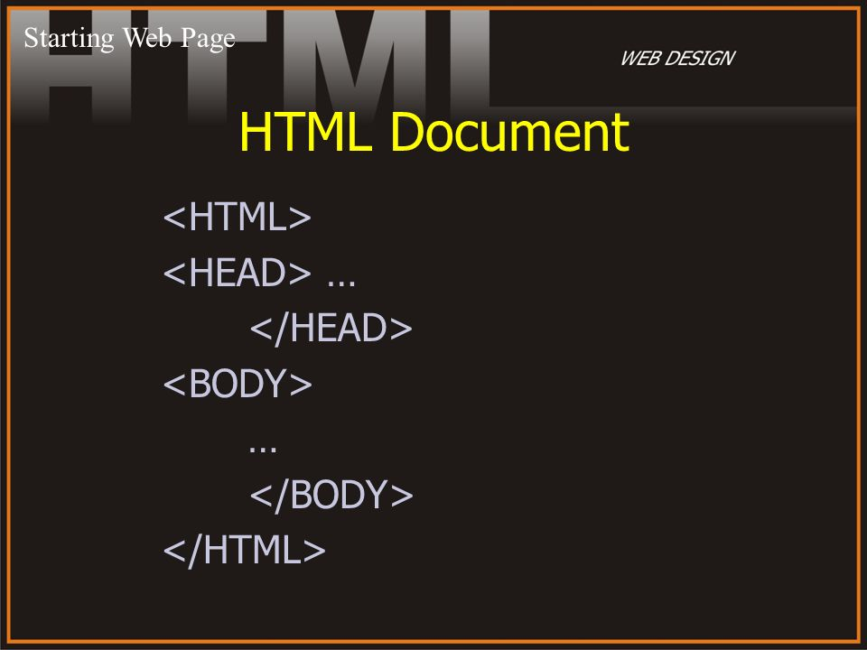 HTML Document … … Starting Web Page