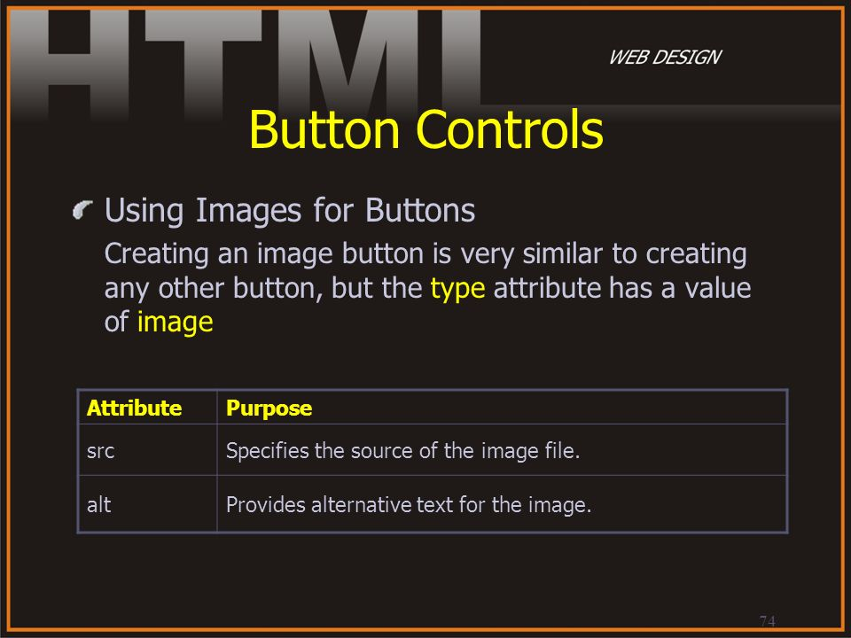 74 Button Controls Using Images for Buttons Creating an image button is very similar to creating any other button, but the type attribute has a value