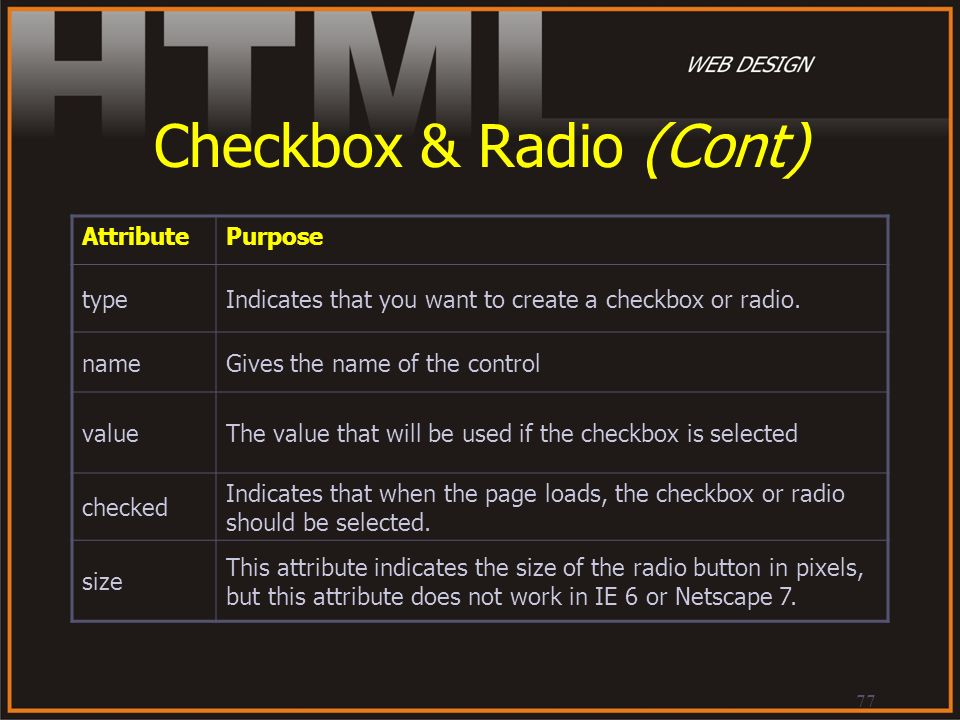 77 Checkbox & Radio (Cont) AttributePurpose typeIndicates that you want to create a checkbox or radio. nameGives the name of the control valueThe valu