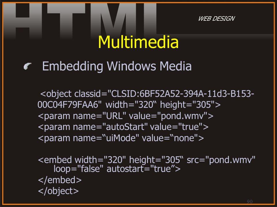 90 Multimedia Embedding Windows Media <object classid=