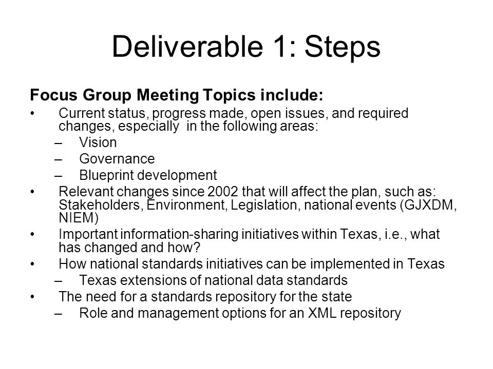 Deliverable 1: Steps Focus Group Meeting Topics include: Current status, progress made, open issues, and required changes, especially in the following areas: –Vision –Governance –Blueprint development Relevant changes since 2002 that will affect the plan, such as: Stakeholders, Environment, Legislation, national events (GJXDM, NIEM) Important information-sharing initiatives within Texas, i.e., what has changed and how.