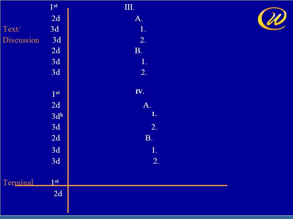 17 1 st III. 2d A. Text/ 3d 1. Discussion 3d 2. 2d B. 3d 1. 3d 2. 1 st IV. 2d A. 3d h 1. 3d 2. 2d B. 3d 1. 3d 2. Terminal 1 st 2d