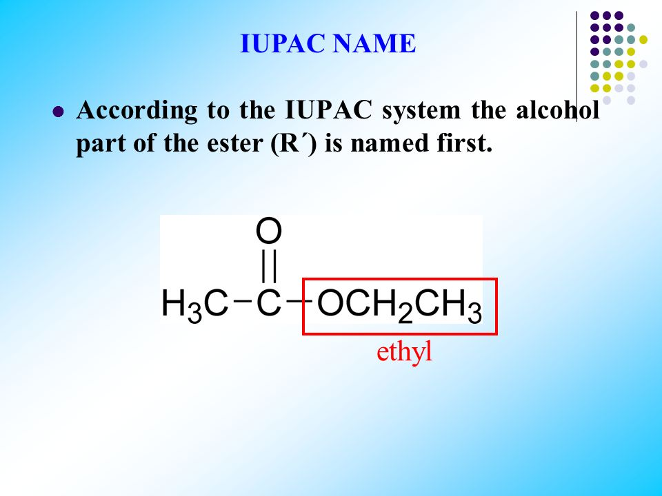 Esterification is the reaction of an acid and an alcohol to form an ester. acetic acid (ethanoic acid) ethyl alcohol (ethanol) ethyl acetate (ethyl et