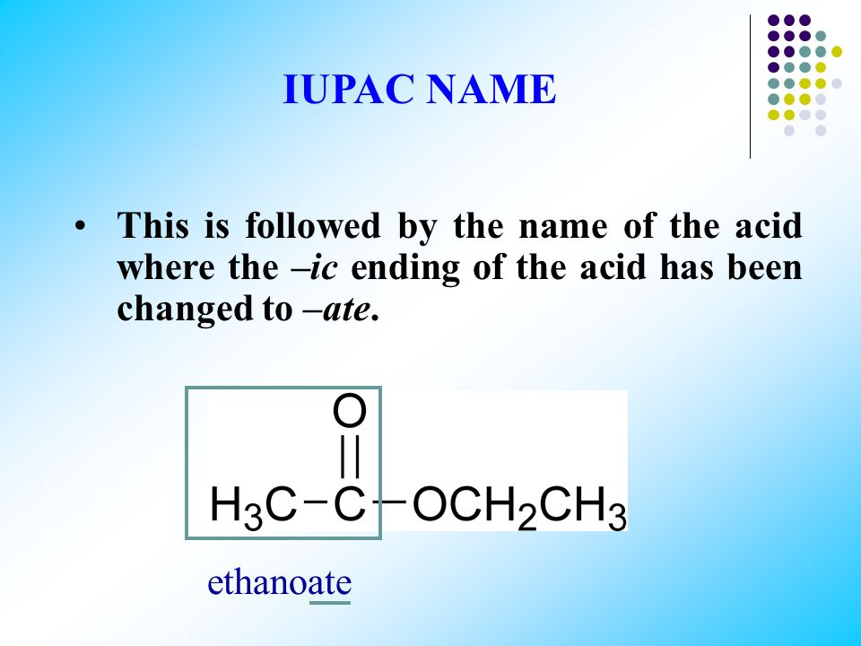According to the IUPAC system the alcohol part of the ester (R΄) is named first. ethyl IUPAC NAME