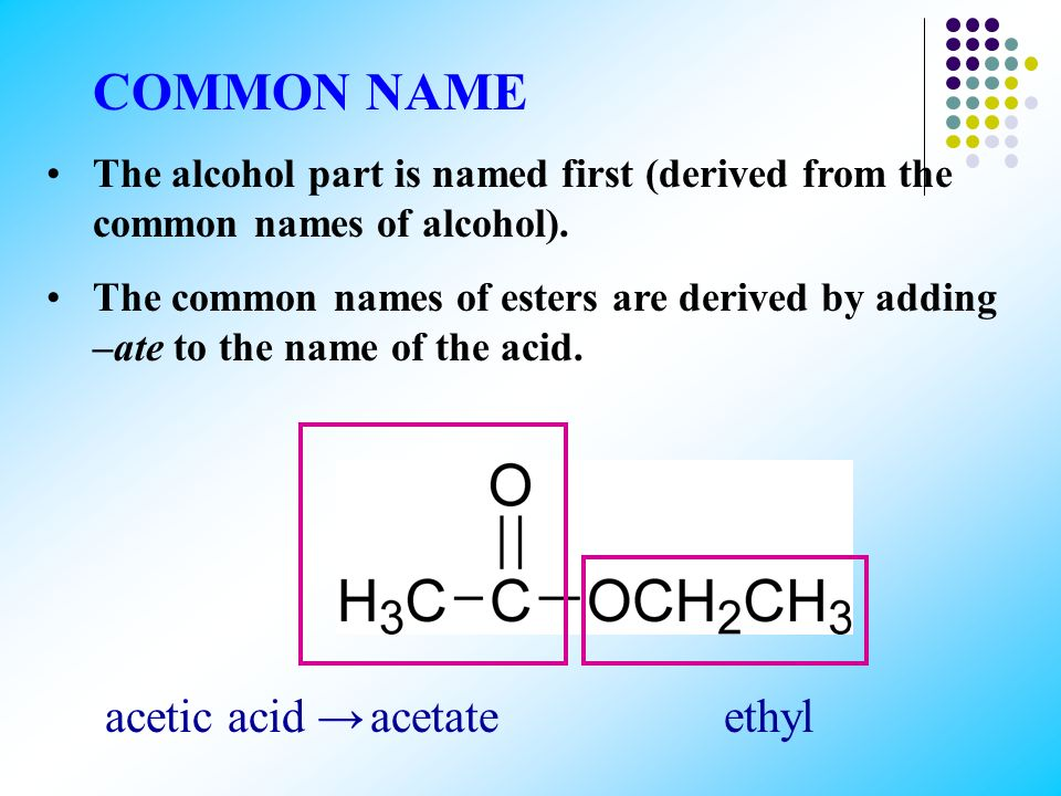 According to the IUPAC system the alcohol part of the ester (R΄) is named first. This is followed by the name of the acid where the –ic ending of the