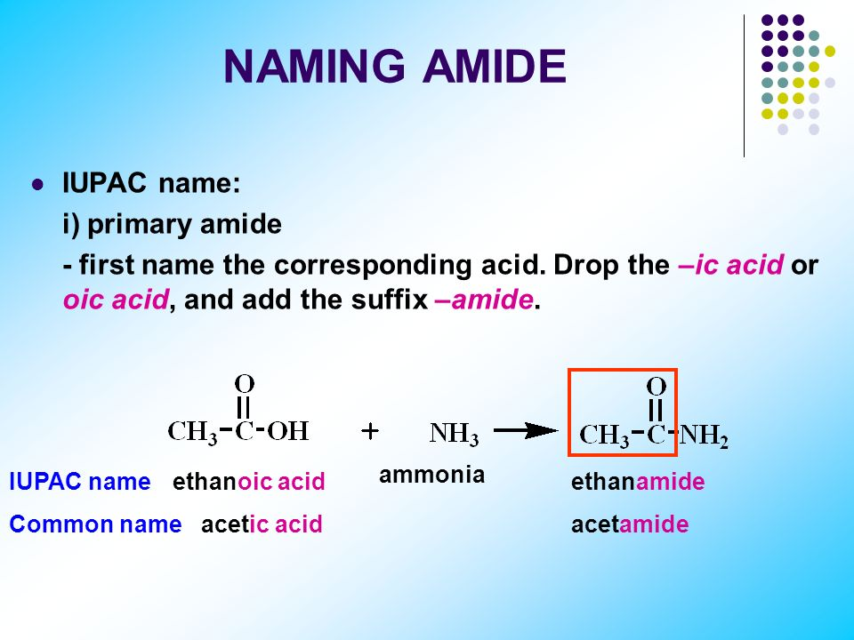 Amide Amide: a composite of a carboxylic acid and ammonia or an amine. Classification of amide: i) primary amide: RCONH2 (two H atoms bonded to N atom