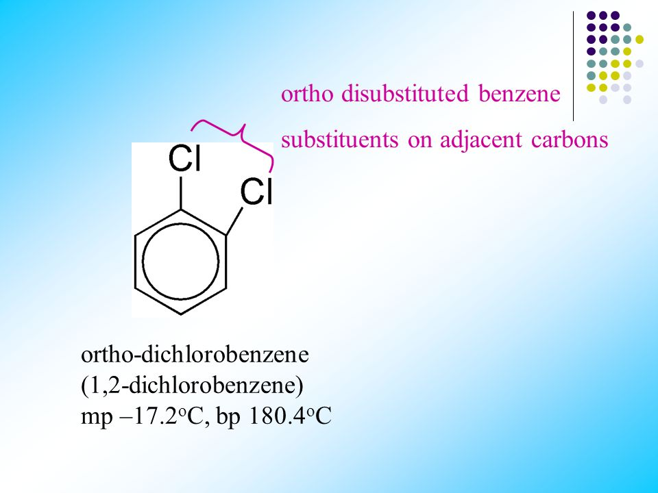 Three isomers are possible when two substituents replace hydrogen in a benzene molecule. The prefixes ortho-, meta- and para- (o-, m- and p-) are used