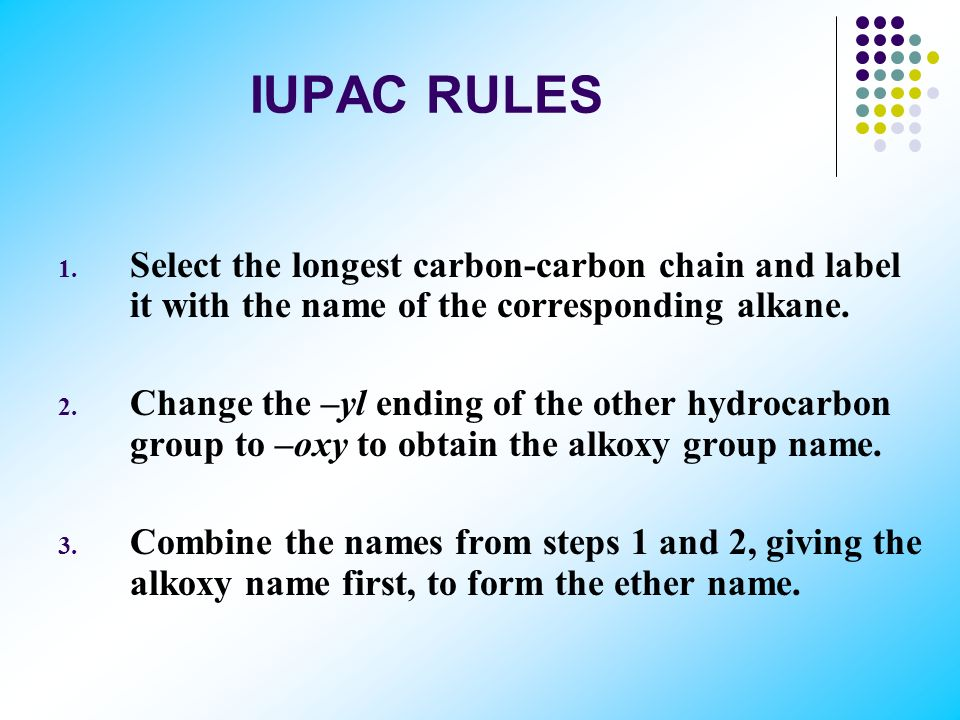 IUPAC RULES RO– is an alkoxy group. Ethers are named as alkoxy derivatives of the longest carbon-carbon chain in the molecule