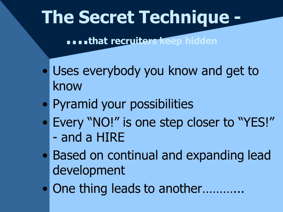 The Secret Technique - …. that recruiters keep hidden NETWORK RECRUITING! Always in the recruiting mode A 24/7 task - for everyone in the organization