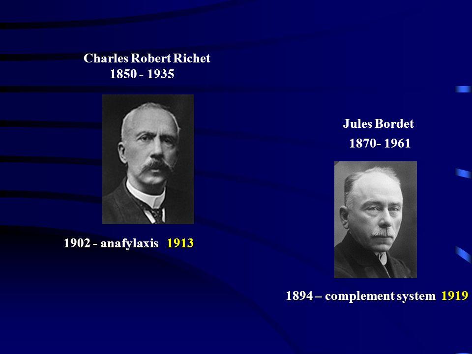 Paul Ehrlich 1854-1915 1898 – humoral immunity 1908 IljaMečnikov 1845-1916 1883 – phagocytosis 1908