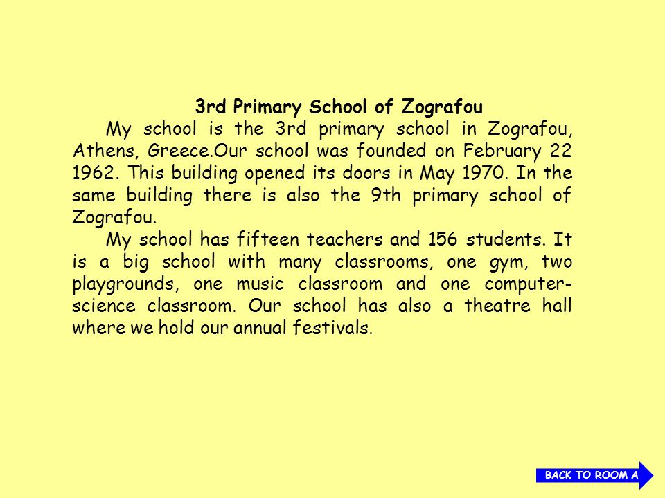 3rd Primary School of Zografou My school is the 3rd primary school in Zografou, Athens, Greece.Our school was founded on February 22 1962. This buildi