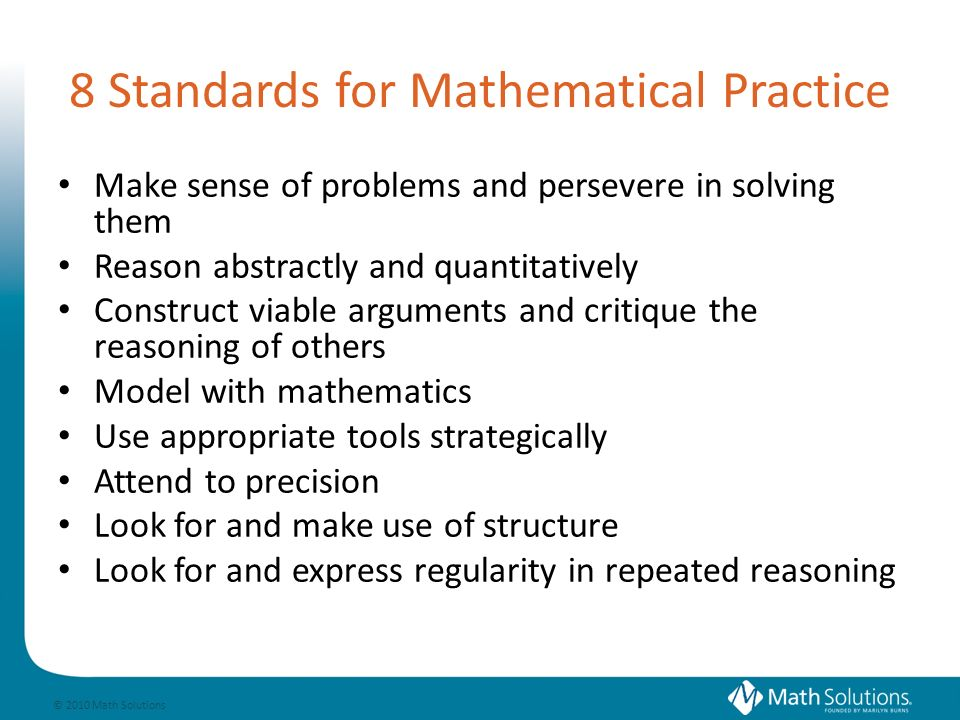 © 2010 Math Solutions Focus for Discussing Content What evidence did you find that the teacher provided instructional experiences to support students in: Using relationships among numbers and operations to solve a problem; and/or Using properties to solve a problem.