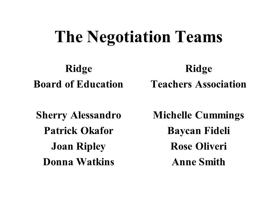 The Negotiation Teams Ridge Board of Education Sherry Alessandro Patrick Okafor Joan Ripley Donna Watkins Ridge Teachers Association Michelle Cummings Baycan Fideli Rose Oliveri Anne Smith
