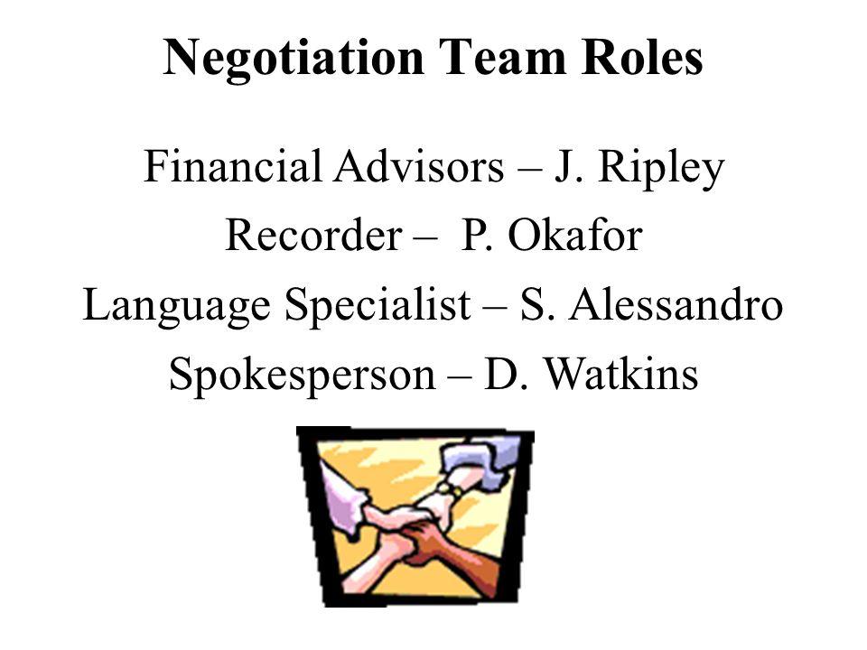 Negotiation Team Roles Financial Advisors – J.Ripley Recorder – P.