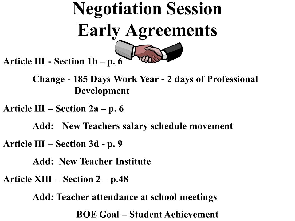 Negotiation Session Statement of Board Goals Explanation of Initial Proposal Discussion of Salary/Health Benefits - Tabled Majors Issues Discovered Exploratory Teams Established Early Agreements Focus on interests not positions Fisher and Ury