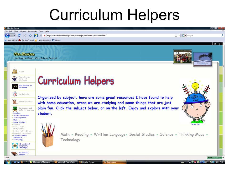 Curriculum Helpers