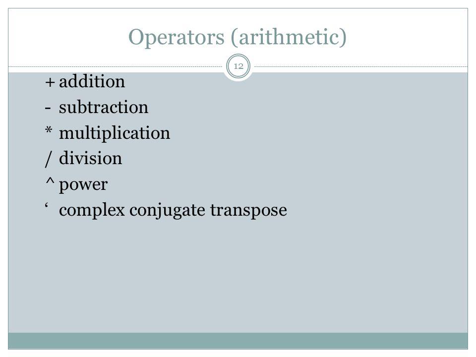 Operators (arithmetic) +addition -subtraction *multiplication /division ^power complex conjugate transpose 12