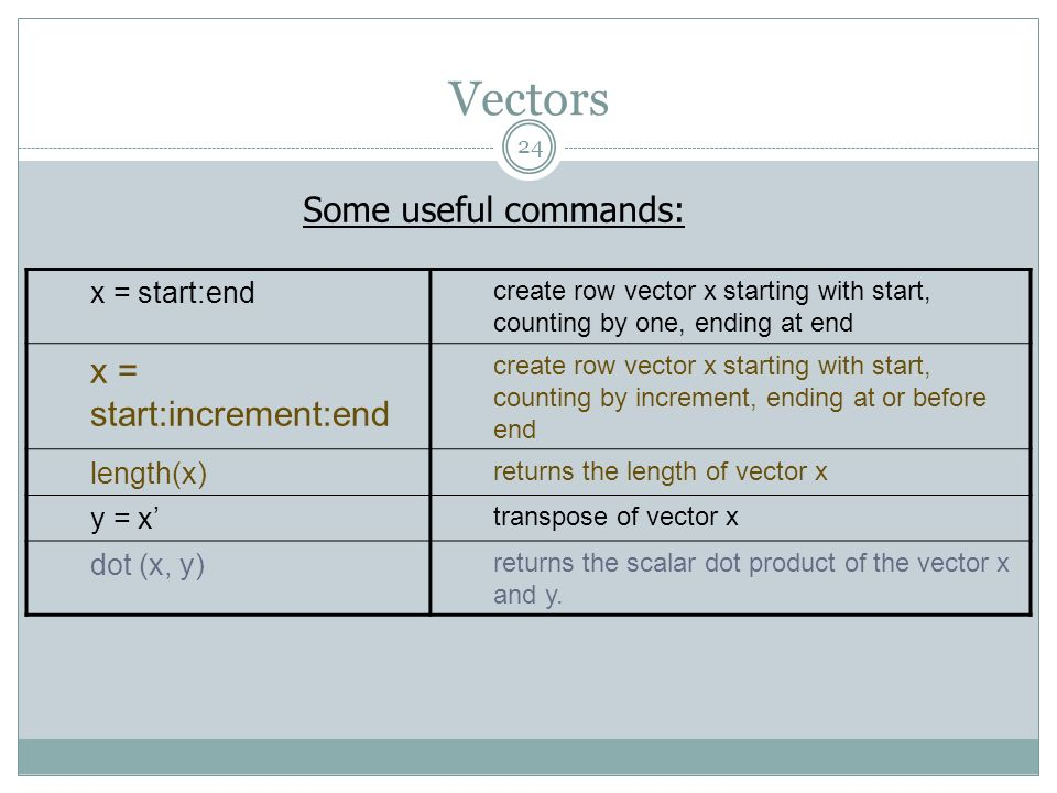 Vectors Some useful commands: x = start:end create row vector x starting with start, counting by one, ending at end x = start:increment:end create row