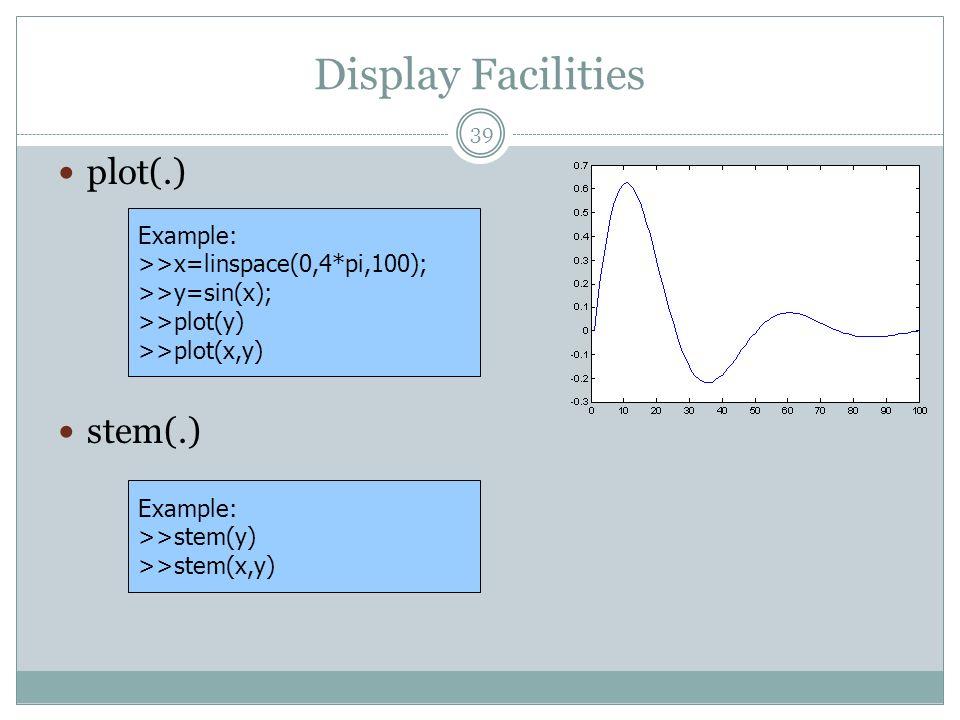 Display Facilities plot(.) stem(.) Example: >>x=linspace(0,4*pi,100); >>y=sin(x); >>plot(y) >>plot(x,y) Example: >>stem(y) >>stem(x,y) 39