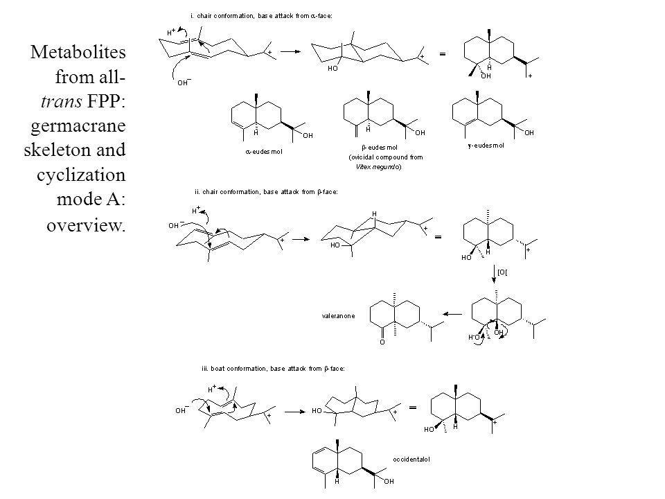 Metabolites from all- trans FPP: germacrane skeleton and cyclization mode A: overview.