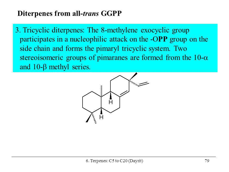 6. Terpenes: C5 to C20 (Dayrit)79 Diterpenes from all-trans GGPP 3. Tricyclic diterpenes: The 8-methylene exocyclic group participates in a nucleophil